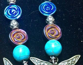 Dragonfly charm beaded earrings