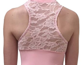 IN STOCK - CONTEMPORARY Leotard with Lace - V-Neck Zip Front and Razor Back    Ballet Pink