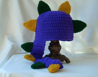 Child Dinosaur Hat, Dragon Crochet Hat, Boy's Animal Hat, Girl's  Mardi Gras Hat, Child Animal Hat, Purple Dragon Hat, Purple Dinosaur Hat