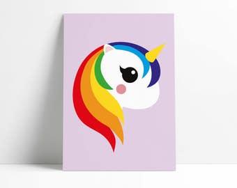 Postcard Unicorn Rainbow