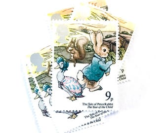5 x The Tale of Peter Rabbit Beatrix Potter UNused GB - 9p 1979 Mint MNH Vintage Postage Stamp - British GB - for postage, art, collecting