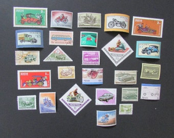 Lot of 25 Transportation Stamps Cars Trucks Motorcycles Postmarked Unused Worldwide Good for Crafts Scrapbooking Collage Decoupage Lot 3