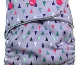 Geometric Purple Triangle Hybrid Fitted Diaper - One Size OS with Fold Down Rise - Cloth Diaper