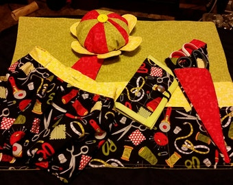 Sewing Machine Organizer Mat / Thread Catcher Pin Cushion / Needle Case / Scissor Case - Set of 4