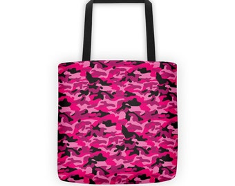 Pink and Black Camo/ Camouflage Tote Bag/ Purse