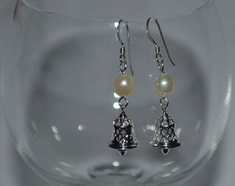 Silver Bell and Pearl Earrings, Freshwater, Sterling Silver, Trendy, Chic, Holiday, Jewelry Box, Gift For Her