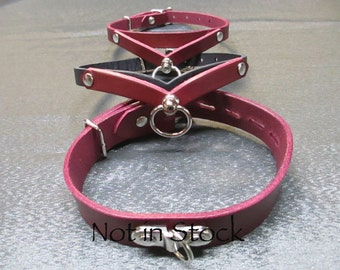 Claret/Black Leather Half inch Slimline 3D Drop Collar with Central Swivel Ring