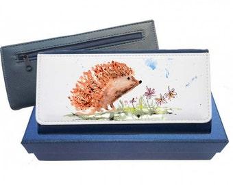 Hedgehog purse, navy purse, leather purse, hedgehog gift, hedgehog leather purse
