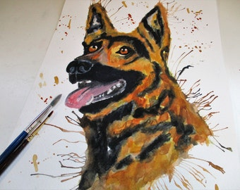 GERMAN SHEPHERD art, Puppy art, dog painting, German shepherd painting, dog art print, GSD