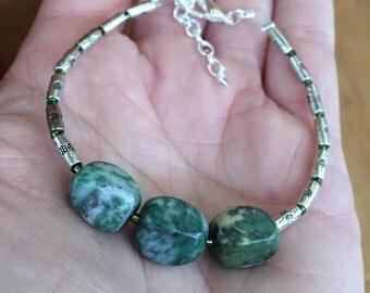 Handmade Genuine Jade Gemstone Beaded Bracelet Jewelry, green jade bracelet, good luck bracelet, simple gift for her bracelet