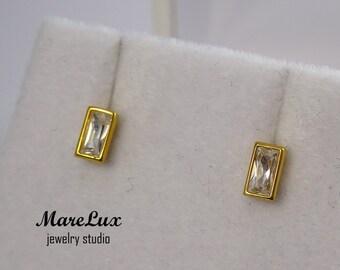 Baguette Diamond 24K Gold Fill Silver or Gold Stud Earrings, Rectangle Diamond CZ, Simulate Diamond, Stud Earrings, Dainty Diamond Studs
