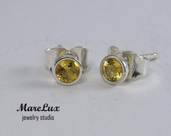 Natural Citrine Studs, Silver or Gold, Yellow 3mm Citrine Earrings, Mined Citrine, Tiny Citrine Stud Earrings, Yellow Citrine Earrings, Gift