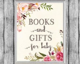 Books and Gifts Sign, Books for Baby Sign, Book Request, Baby Shower Book Sign 8x10, Instant Download, Books for Baby Printable
