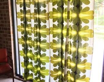 Vintage 1970s Geometric Barkcloth Curtains, Greens, 2m drop, 1.1m wide, Retro Fabric