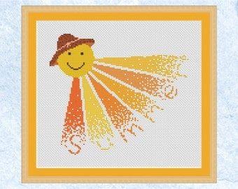 Sunshine custom cross stitch pattern, modern personalised cross stitch, sun, smiley, hat, name, birth sampler, girl boy baby, customised PDF