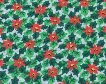 Vintage Christmas Fabric. FQ. Poinsettia Fabric Vintage. Holky Fabric Vintage.