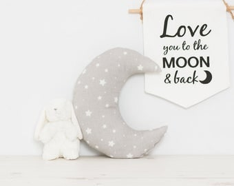 Grey Crescent Moon pillow with stars, great for space nursery decor, kids room or children's playroom tipi pillow