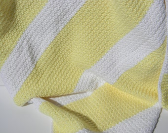 Yellow and White Crocheted Baby Blanket