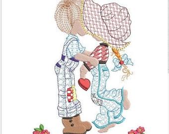 "Sarah Kay valentine machine embroidery download 3 different sizes ( 4x5  6x6   5x7"")"