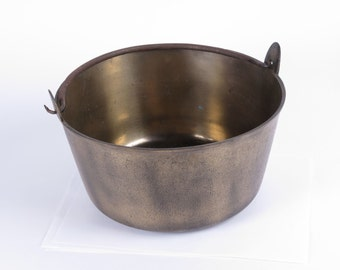 Antique jelly kettle brass fireplace bucket hand forged iron handle primitive 19th c