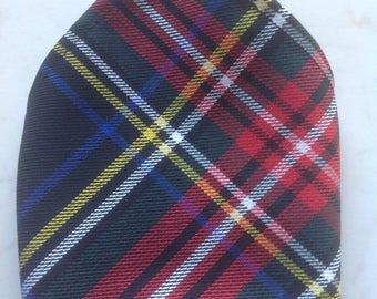 Black Stewart Scottish Tartan Gents Pocket Square Handkerchief