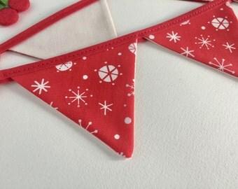 Christmas bunting - Snowflake bunting - Mini festive bunting - Christmas bunting - Christmas Banner - 1 metre bunting - Snowflake banner