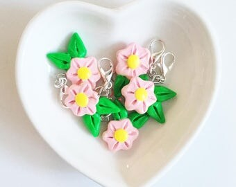 Pink Flower Polymer Clay Charms