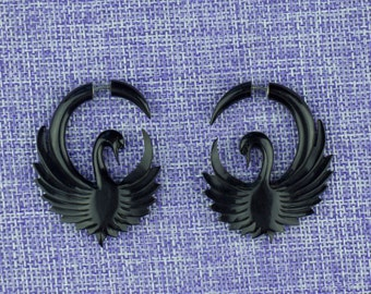 "Fake Gauge Earrings, ""Swans"" Horn, Naturally Organic, Hand Carved, Tribal"