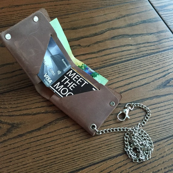 Dark Brown Leather Chain Wallet, leather mens wallet, leather wallet, gifts for him