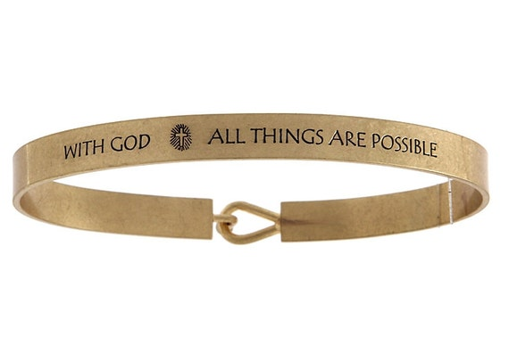 Christian Jewelry, Mantra Band, With God All Things Are Possible Bracelet, Bible Verse, Matthew 19, Christian Gift