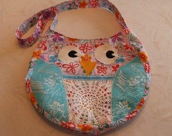Owl Purse, Fabric Owl Purse, Upcycled Owl Purse, Appliqued Owl Purse, Girl's Crossbody Owl Purse
