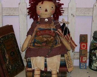 Primitive Raggedy Ann doll homespun feed sack Annie with American Flag