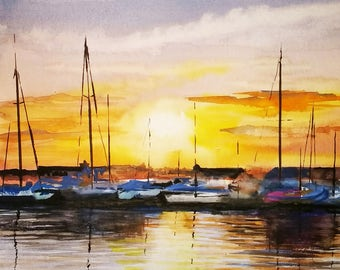 Sailing Sailingboats in the sunset Sea Watercolor
