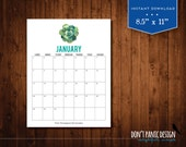 2017 Succulent Printable Wall Calendar - Succulent 12 Month Wall Calendar - Home Organizing - Instant Download