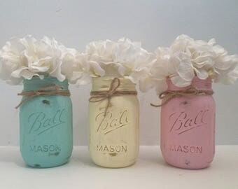 Patina, Yellow & Rose Pink Shabby Chalky Painted Mason Jars