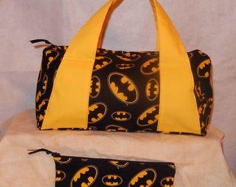 Batman Fabric Handbag Lined W/ Contrast Handles and Matching MiniBag