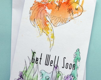 Get well soon, get well soon card, get well, watercolour,watercolor,goldfish,fish,watercolour fish,Get well card,free shipping,Itchy Avocado