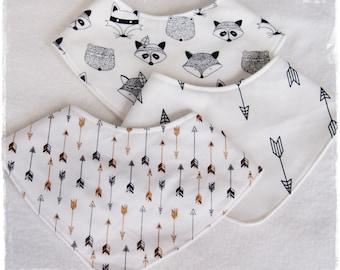 3 BANDANA BIBS / Handmade / Baby Bib / Baby Bandana Bib / Baby Dribble Bib / Bibdana / Baby Drool Bib / Baby Accessories