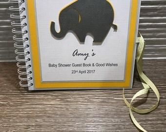 Elephant Baby Shower Guest Book, Pregnancy Journal or Babies Milestones Scrapbook