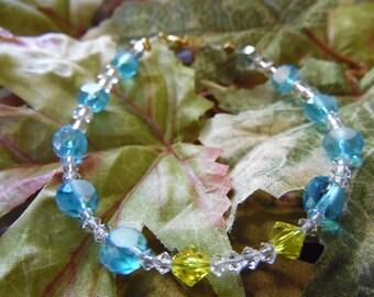 Handmade Beaded Bracelet Blue 7 1/2 Inches
