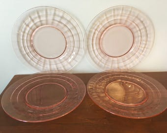 Pink Block Optic Depression Glass Salad Plates - Hocking Glass Co. / Glass Dinnerware