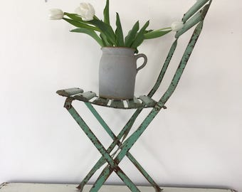 Vintage French metal bistro chair