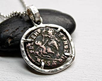 ancient coin necklace silver, Roman Empire coin pendant mens necklace coin Constantius II, ancient coin jewelry original Roman coin necklace