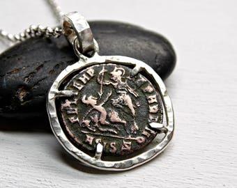 ancient coin necklace silver, Roman Empire coin pendant mens necklace coin Constantius II, ancient coin jewelry, Roman coin necklace