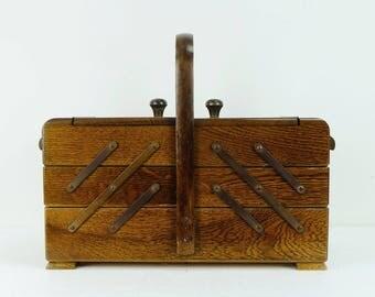 vintage sewing box 30s dark oak 3 storey