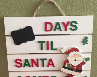 Countdown to Christmas Wood Hanging Sign with Chalkboard