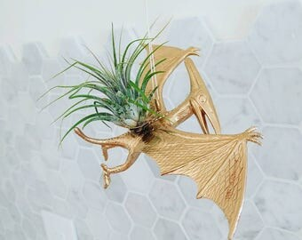Dinosaur Planter // Gold Dinosaur Planter // Dinosaur Flower Pot //Pterodactyl Planter // Dinosaur Pot // Pterodactyl // Airplant