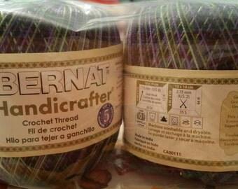 3 skeins of Bernat handicrafter crochet thread in color iris