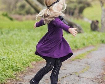 Purple Long sleeve swing dress, purple dress, pink dress, high low dress, long sleeve dress, baby dress