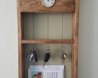 Key holder, mail box, holder, wooden key holder, rustic wall mounted mail holder, distressed key and mail holder